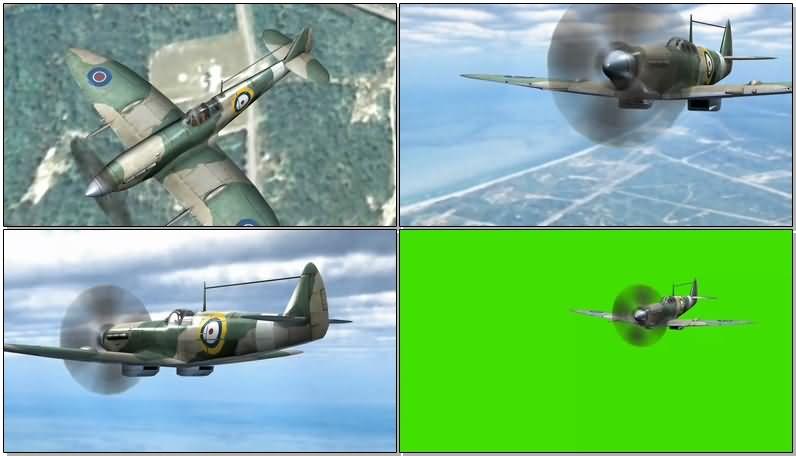 绿屏抠像老式二战战斗飞机视频素材