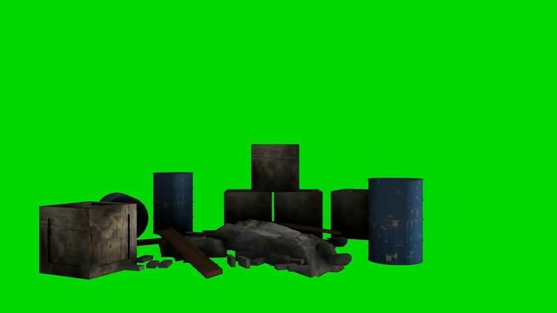绿屏抠像废弃的木箱铁桶视频素材