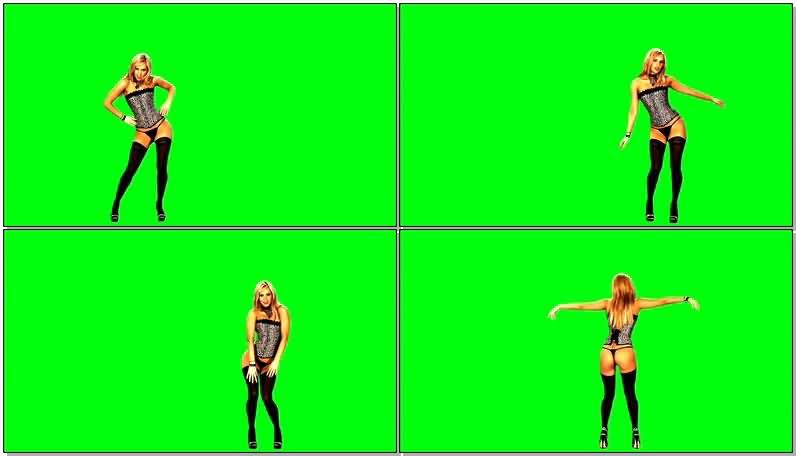 绿屏抠像黑丝跳舞金发美女视频素材
