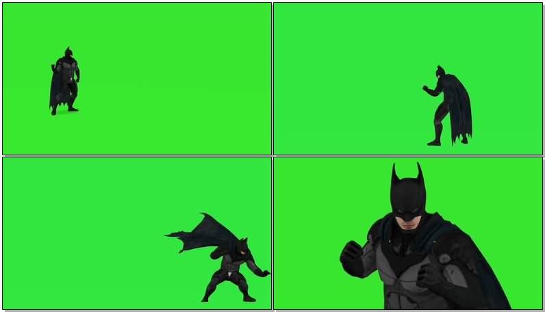 绿屏抠像战斗的蝙蝠侠视频素材
