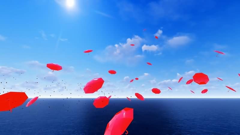 [2K]海面天空中飘浮的红色雨伞视频素材