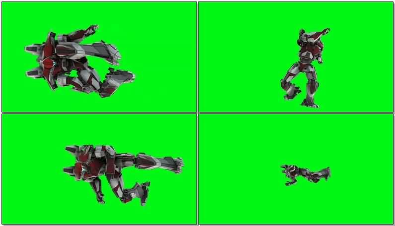 绿屏抠像守护者布拉沃机甲机器人视频素材