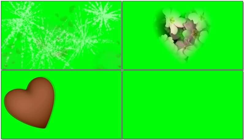 绿屏抠像各种红色爱心视频素材