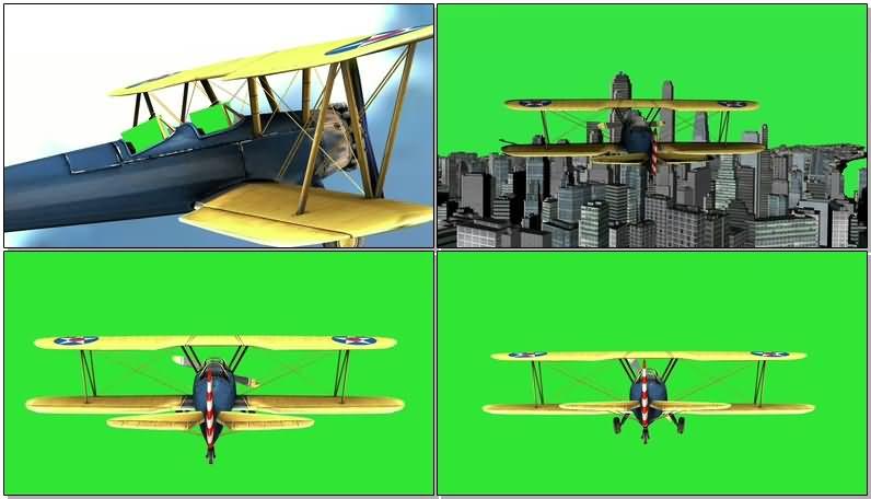 绿屏抠像飞行的复翼飞机视频素材