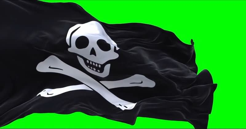 绿屏抠像飘扬的黑色骷髅海盗旗视频素材
