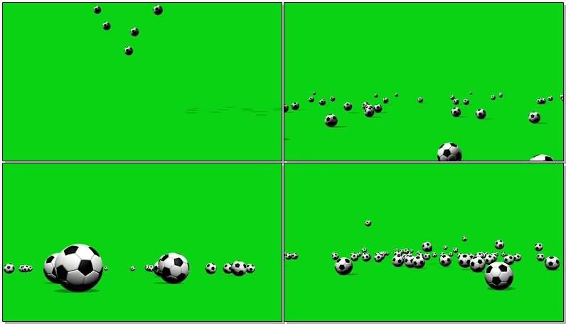 绿屏抠像散落在地上的足球视频素材