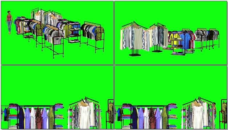 绿屏抠像商店挑衣服的女子视频素材