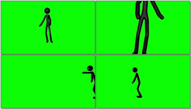 绿屏抠像行走的黑色火柴人视频素材