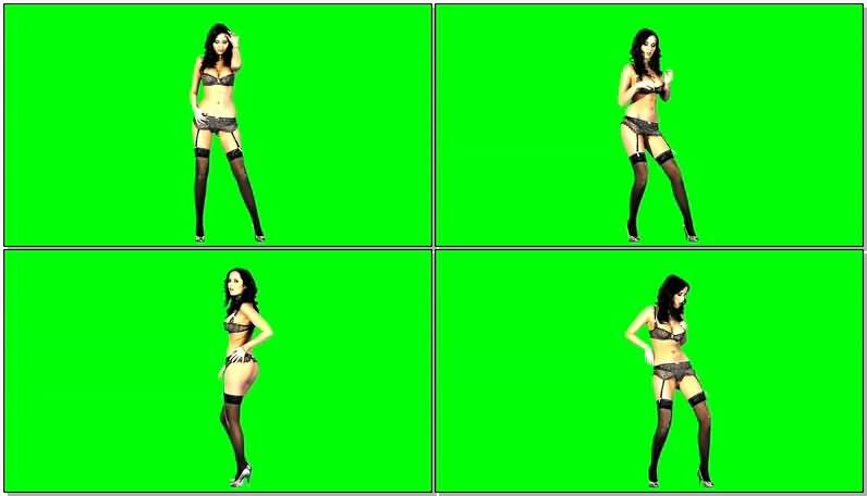 绿屏抠像跳舞的黑色比基尼美女视频素材