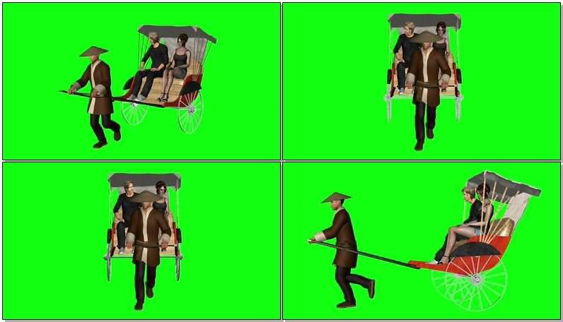 绿屏抠像拉黄包车的车夫视频素材