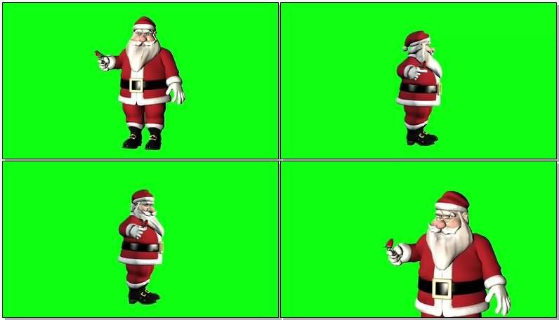绿屏抠像放飞小鸟的圣诞老人视频素材