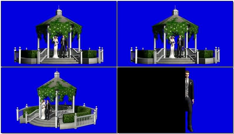 蓝屏抠像在殿堂里结婚的新人视频素材