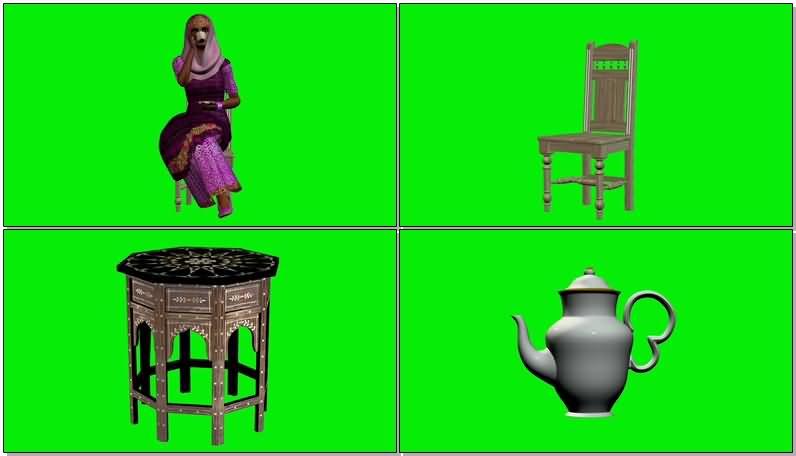 绿屏抠像喝茶的印度女人视频素材