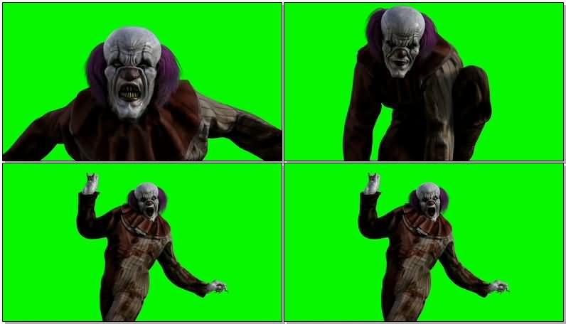 绿屏抠像恐怖的小丑视频素材