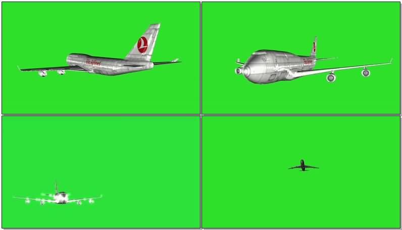 绿屏抠像飞行的747客机视频素材