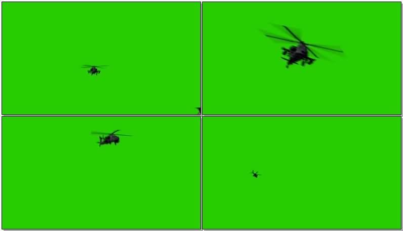 绿屏抠像阿帕奇直升飞机视频素材