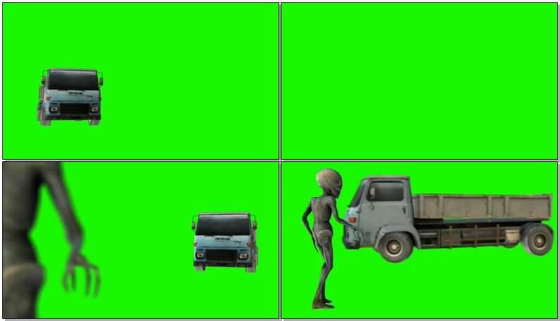 绿屏抠像卡车撞外星人视频素材