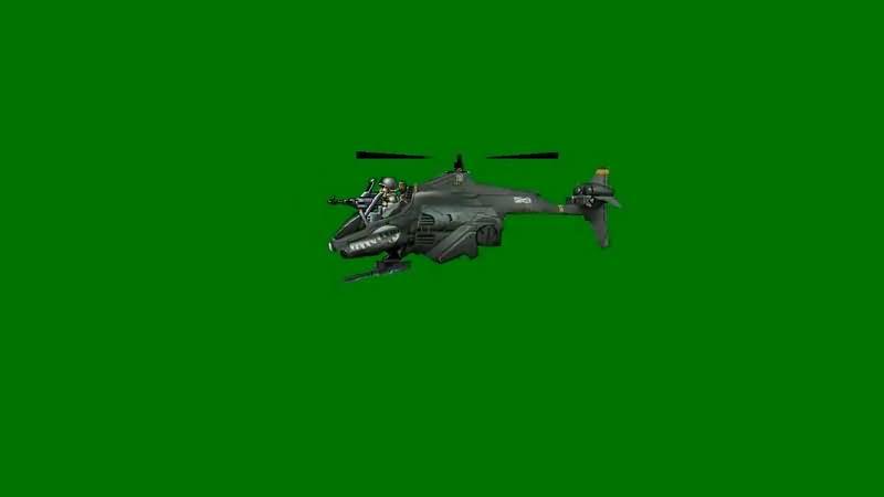 绿屏抠像卡通3D直升飞机视频素材