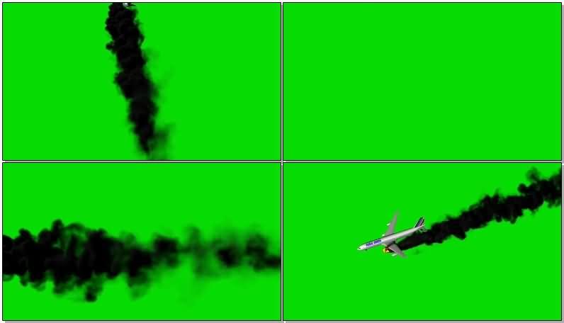绿屏抠像坠毁的客机视频素材
