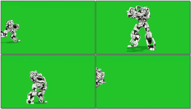 绿屏抠像白色机器人视频素材
