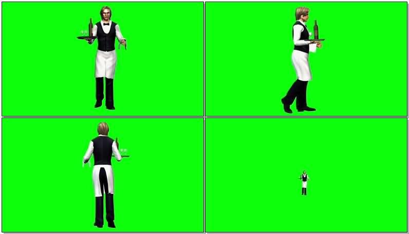 绿屏抠像餐厅服务生视频素材