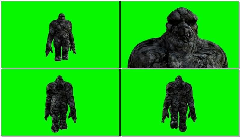 绿屏抠像石头人怪物视频素材