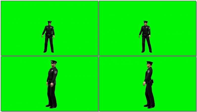 绿屏抠像交通警察视频素材