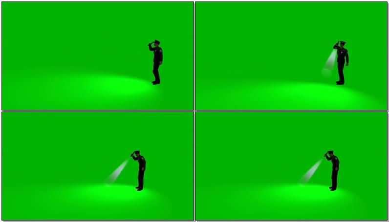 绿屏抠拿手电筒巡视的警察视频素材