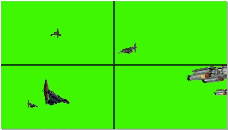 绿屏抠像外星飞船战舰视频素材