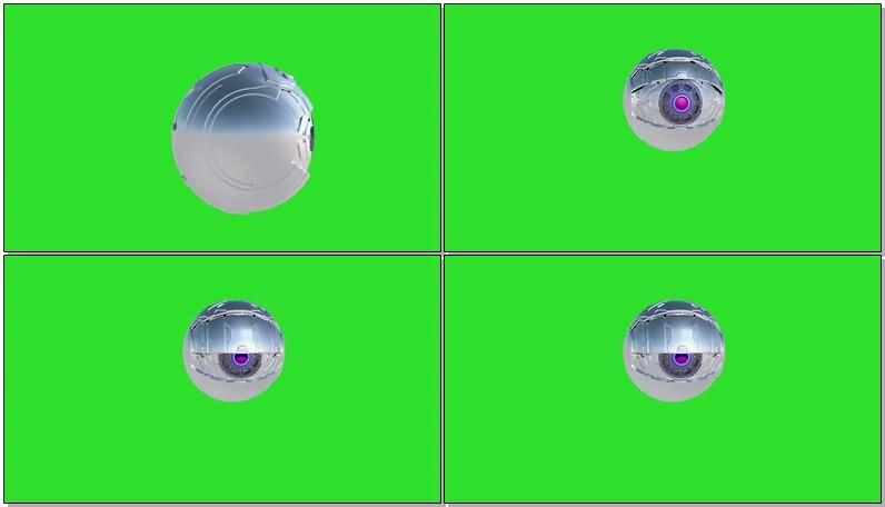 绿屏抠像滚动的球形机器人视频素材