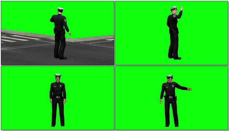 绿屏抠像指挥交通的警察视频素材
