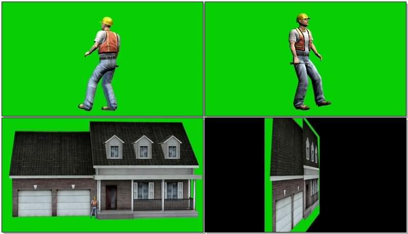 绿屏抠像工作的建筑工人视频素材