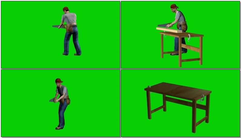 绿屏抠像锯木头的工人视频素材