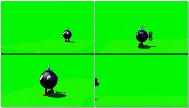 绿屏抠像行走的卡通炸弹视频素材
