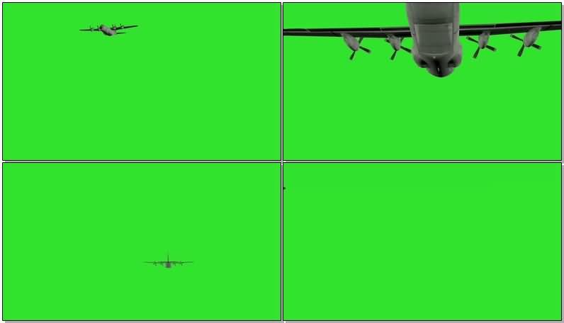绿屏抠像大型运输飞机视频素材