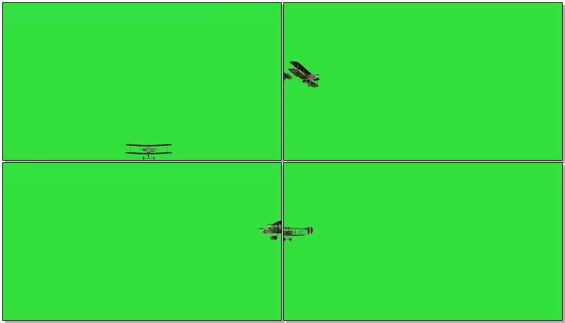 绿屏抠像老式双翼飞机视频素材