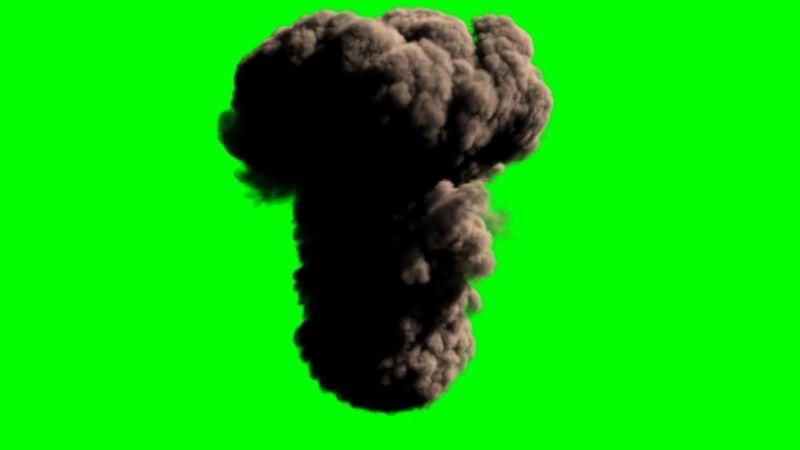 绿屏抠像炸弹爆炸黑烟视频素材