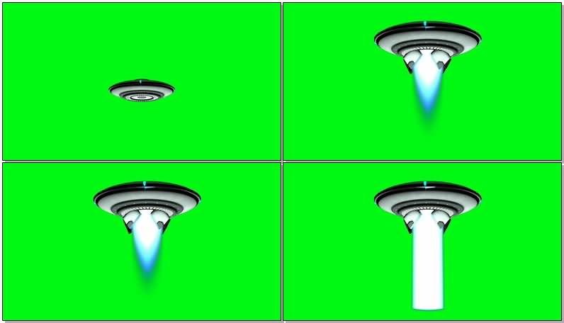 绿屏抠像UFO飞碟绑架光束视频素材