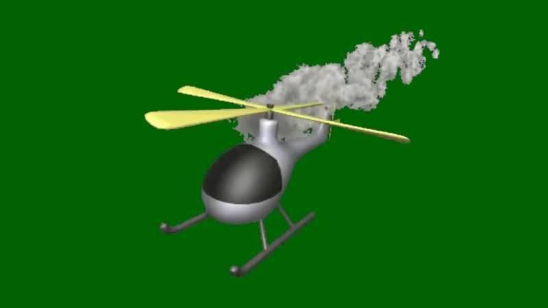 绿屏抠像冒烟的直升飞机视频素材