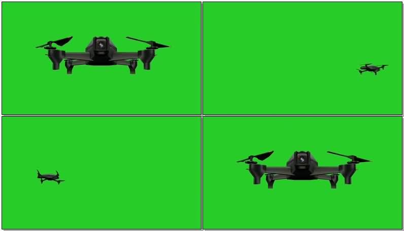 绿屏抠像飞行中的无人机视频素材