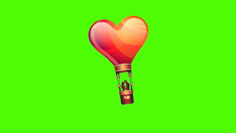 绿屏抠像爱心热气球视频素材