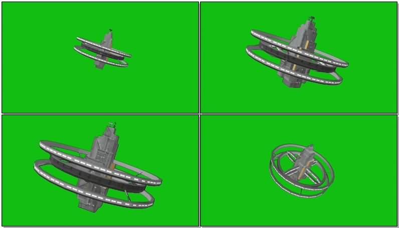 绿屏抠像太空空间站视频素材