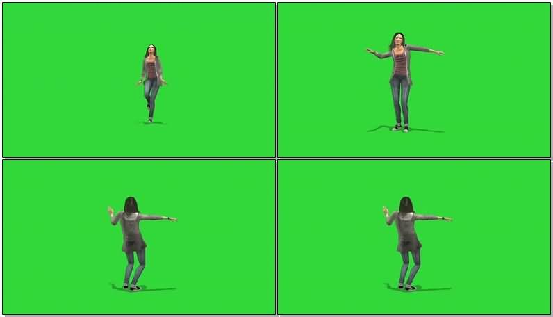 绿屏抠像跳舞的女子视频素材