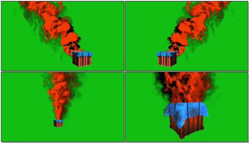 绿屏抠像着火的补给箱视频素材