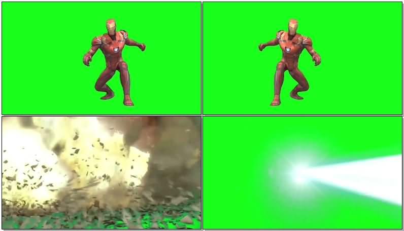 绿屏抠像钢铁侠纳米战甲攻击视频素材