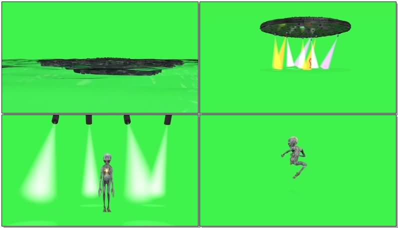 绿屏抠像外星人UFO飞碟视频素材
