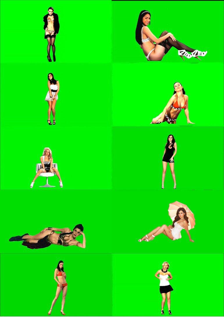 绿屏_绿布_绿幕真人美女人物视频素材打包100部