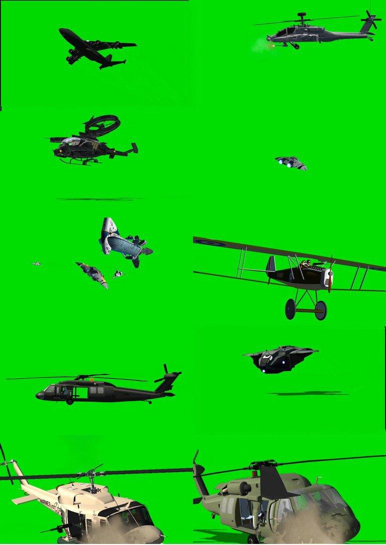 绿屏_绿布_绿幕飞机|战斗机|直升机|飞船|飞碟|飞行器视频素材打包100部第二套