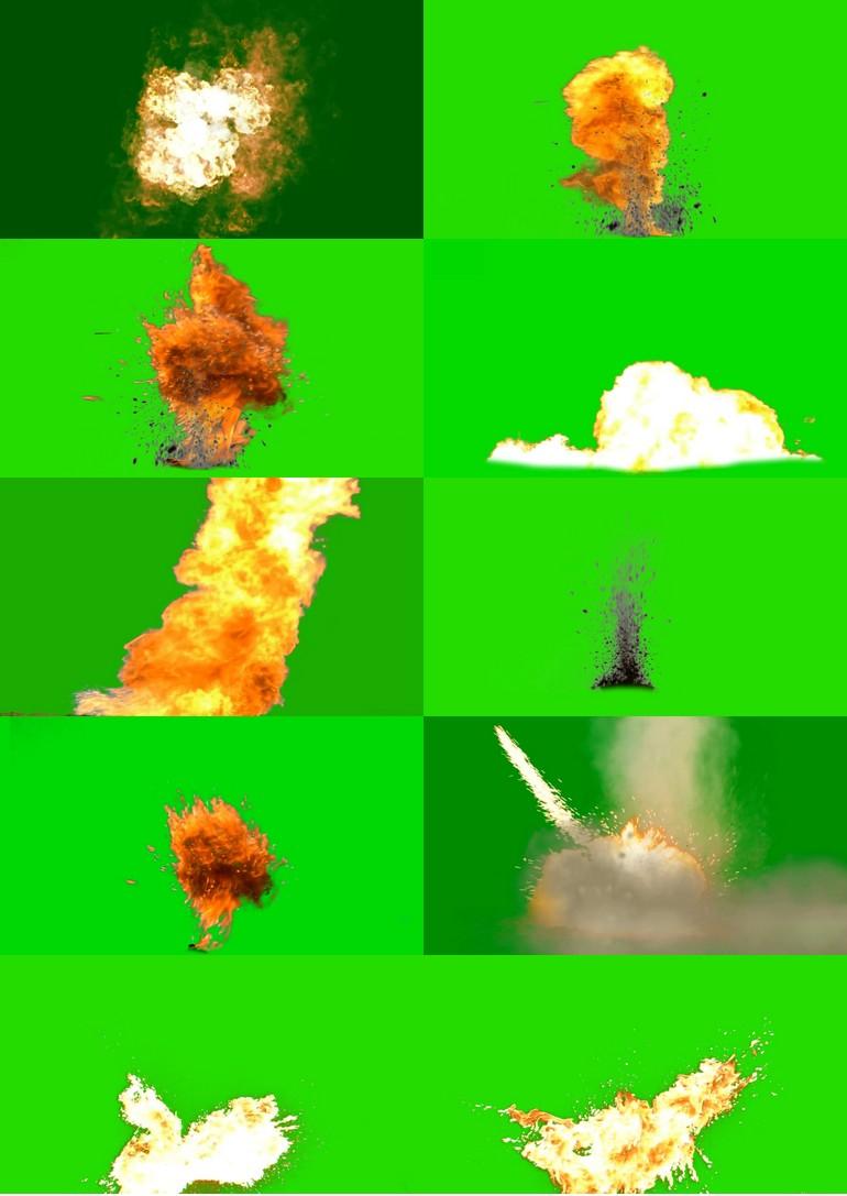 绿屏_绿布_绿幕火焰燃烧|子弹枪械|导弹|手雷爆炸视频素材打包100部第一套