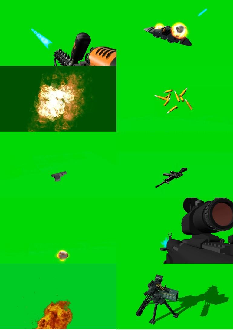 绿屏_绿布_绿幕火焰燃烧|子弹枪械|导弹|手雷爆炸|视频素材打包100部第二套